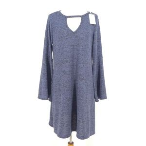No Comment Bell Sleeve Keyhole Neck Tunic Sweater